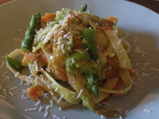 Carrot Zucchini Ribbon Pasta with Asparagus Pesto