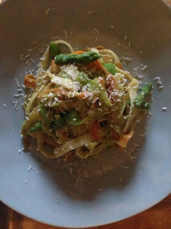 Carrot Zucchini Fettucini with Asparagus Pesto